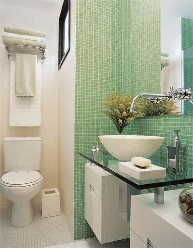 BANHEIROS PEQUENOS E DECORADOS Nossas Dicas -> Bancada De Banheiro Com Pastilha De Vidro