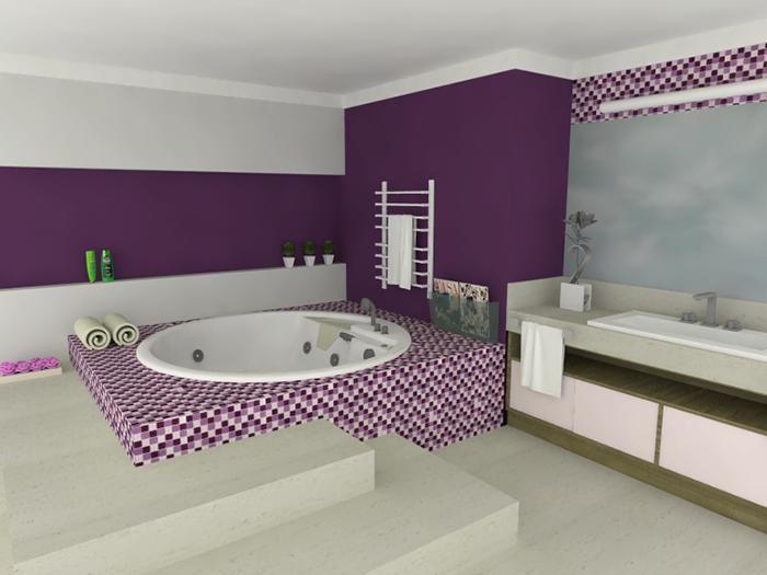 40 BANHEIROS DECORADOS COM PASTILHAS -> Banheiro Com Duas Faixas De Pastilha
