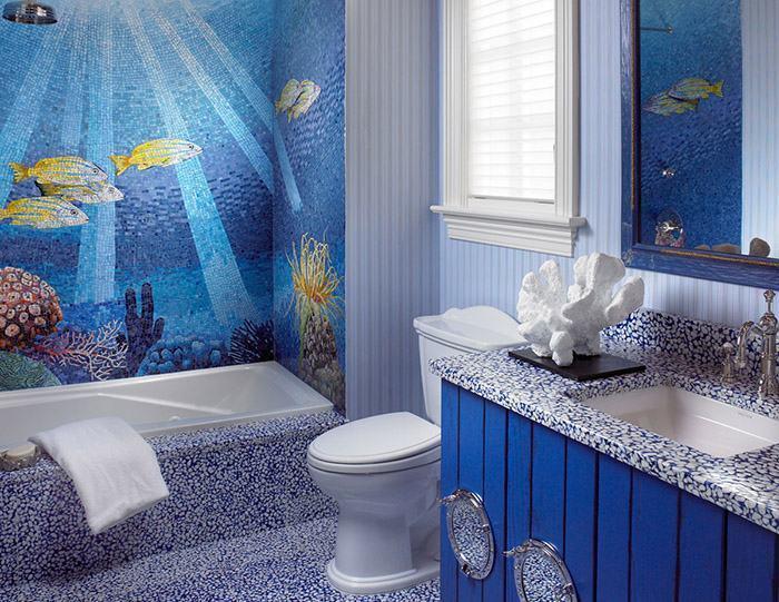 40 banheiros decorados com pastilhas for Imagenes de pisos decorados