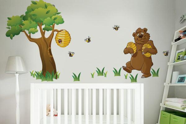 adesivo-parede-decoracao-quarto-bebe-urso-abelinhas