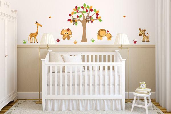 Adesivos de Parede para Quarto de Bebê ~ Quarto Safari Rosa