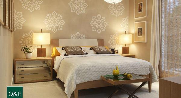 decoracao para quarto de casal com papel de parede 1