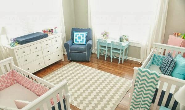 Decoração para Quartos de Bebês Gêmeos 60 Ideias Incríveis ~ Quarto Casal Junto Com Bebe