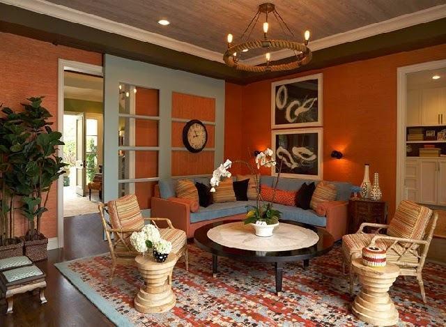 FDoto Sua Melhor Decoração sala-de-estar-decorada-em-laranja-acobreado