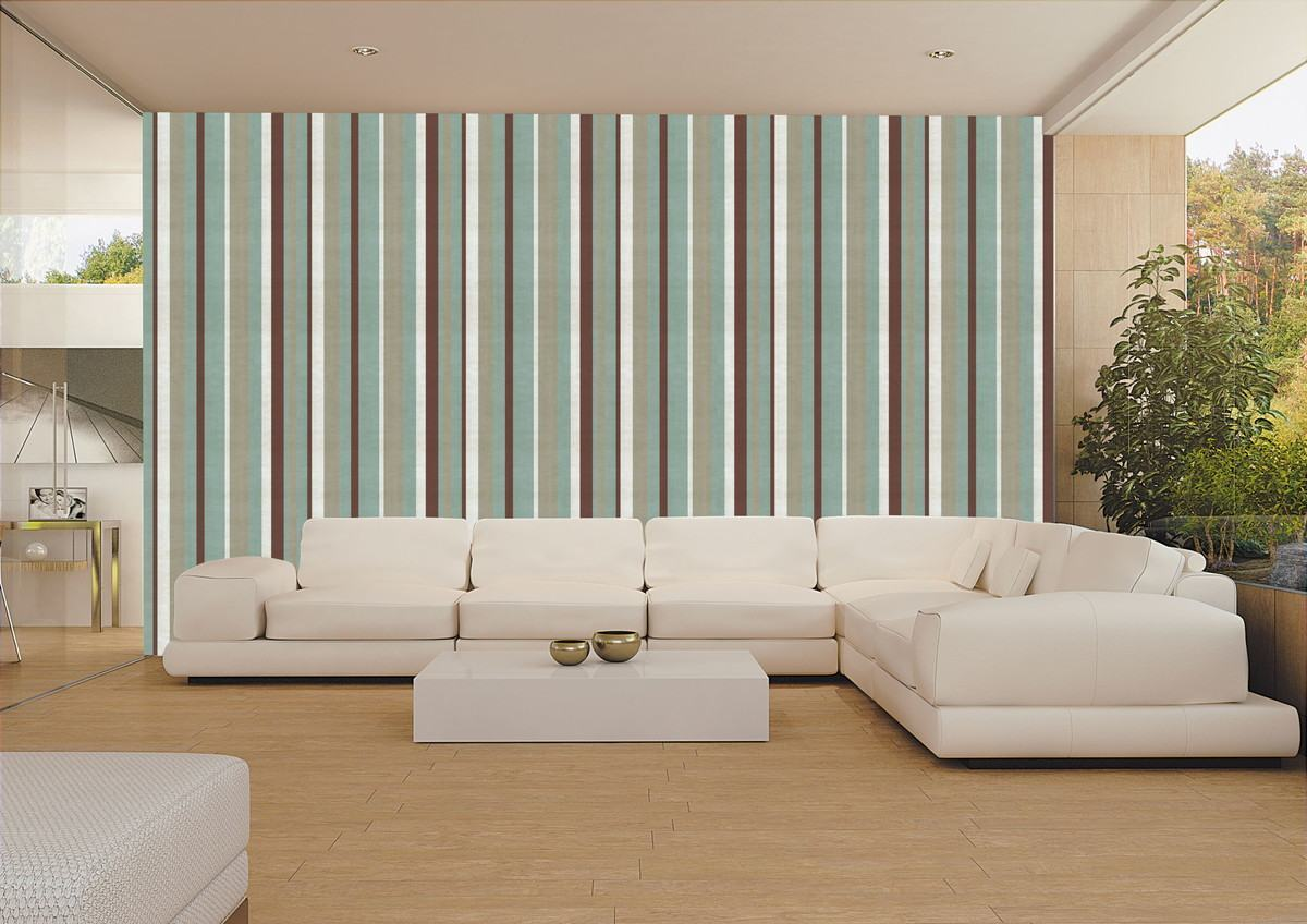Sala decorada com papel de parede fotos e dicas for Sala de estar com papel de parede 3d