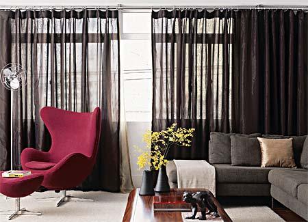 cortinas para sala de estar cor escura